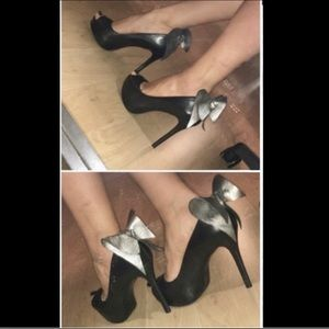 Aldo Carthon Peep Toe Pump with Silver Bow